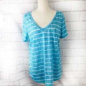 Torrid Short Blue Striped Short Sleeve Tee Size 0